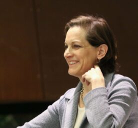 American journalist and Pulitzer Prizewinning author Anne Applebaum smiles at a reading in Gdansk, Poland