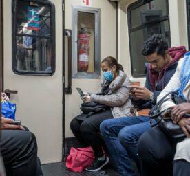 People travel in Metro in Madrid