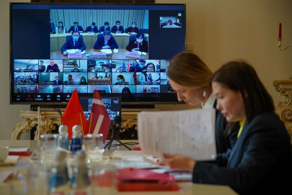 Latvian participants attend a video conference with Chinese health officials, experts and their counterparts from Central and Eastern European (CEE) countries in Riga, Latvia, March 13, 2020.