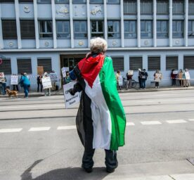 Activists protest in favor of Palestine and against Israel assembled in front of the Israeli General Consulate in Munich, May 2020