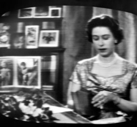 Black and white broadcasted picture of Queen Elizabeth