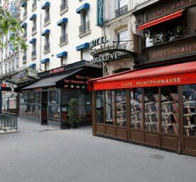 Closed cafes on Parisian street