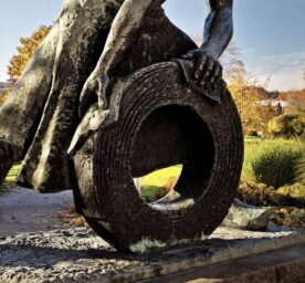 Cold Rolling Monument in Hohenlimburg depicts a steel worker rolling out steel