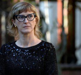 Bosnian filmmaker Jasmila Zbanic addresses the media after the first public showing of a film on the 1995 massacre in Srebrenica