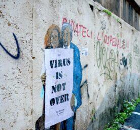 Graffiti in Rome depicting the virologists Roberto Burioni and Ilaria Capua.