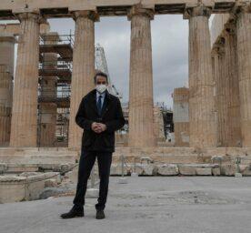 Greek Prime Minister Kyriakos Mitsotakis is seen on the new path to the Parthenon at the Acropolis in Athens, Greece