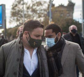The president of the political party Vox, Santiago Abascal and Ignacio Garriga, are talking Passeig de Colom, Barcelona.