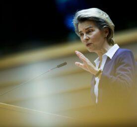 European Commission President Ursula Von Der Leyen addresses European lawmakers.