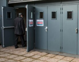 A man walks in a vaccination center in Paris