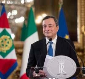 Mario Draghi speaks to the media after accepting a mandate to form Italy's new government from Italian President Sergio Mattarella at the Rome's Quirinale Presidential Palace on Wednesday February 3, 2021.