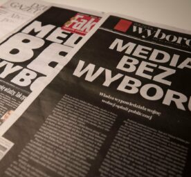 olish daily newspapers are pictured with a blank first page on February 10, 2021 in Warsaw, Poland as a protest against the proposed media tax that the government would introduce on advertising revenue of media companies.