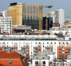 View from Kreuzberg over residential buildings to construction cranes in front of the Axel Springer high-rise