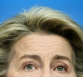 European Commission President Ursula von der Leyen speaks during a media conference at the end of an EU summit in Brussels