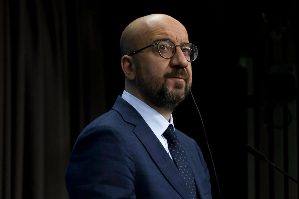 European Council President Charles Michel at press conference following a virtual summit with the leaders of EU countries in Brussels, looking puzzled.