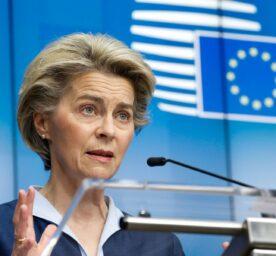 European Commission President Ursula von der Leyen speaking during press conference