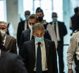 Former French president Nicolas Sarkozy during his trial for corruption and influence peddling