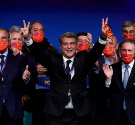 Joan Laporta celebrates his victory after elections at the CampNou stadium in Barcelona