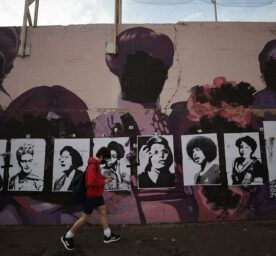 A feminist mural, depicting icons like Frida Kahlo, Rosa Parks and Nina Simone, vandalized by black spray paint ovenight in Madrid, Spain on March 8, 2021