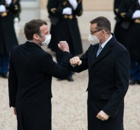 The President of the French Republic Emmanuel Macron welcomes the President of the Polish Council of Ministers Mateusz Morawiecki to the Elysee Palace to prepare the next European Council, in Paris, on March 17, 2021.