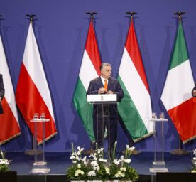 Hungarian prime minister Viktor Orban, center, Poland's prime minister, Matteusz Morawiecki, left, and former interior minister of Italy, Matteo Salvini attend a joint press conference in Budapest, Hungary, Thursday, April 1, 2021.