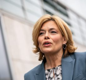 Julia Klöckner (CDU), German Minister of Agriculture, speaks outside a the party headquarters.
