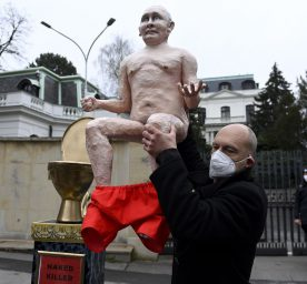 The Kaputin activist group brought a statue of Russian President Vladimir Putin sitting on a golden toilet outside the Russian Embassy in Prague.