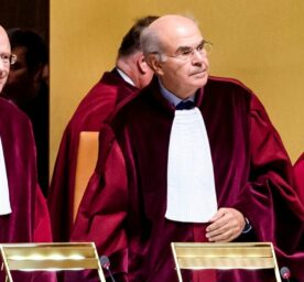 Judges preside over a case at the European Court of Justice in Luxembourg on Tuesday, Oct. 6, 2015.