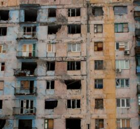 A destroyed apartment block in Avdiivka, Ukraine