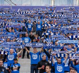 Fans of Lech Poznan during the Final of Polish Cup at the National Stadium in Warsaw.