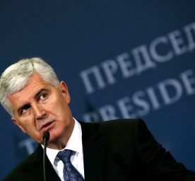 Chairman of Bosnian tripartite Presidency Dragan Covic speaks during a press conference