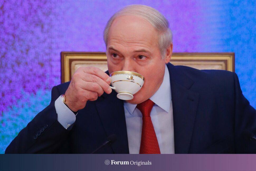 Belarusian President Alexander Lukashenko drinks a tea during a news conference in Minsk, Belarus