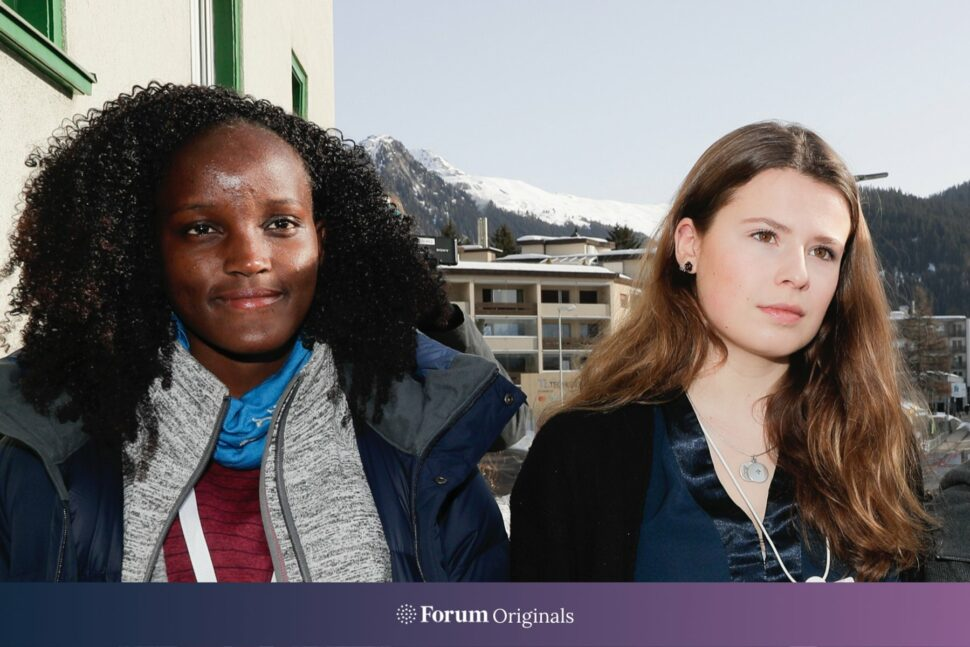 Climate activist Vanessa Nakate, Luisa Neubauer arrive for a news conference in Davos