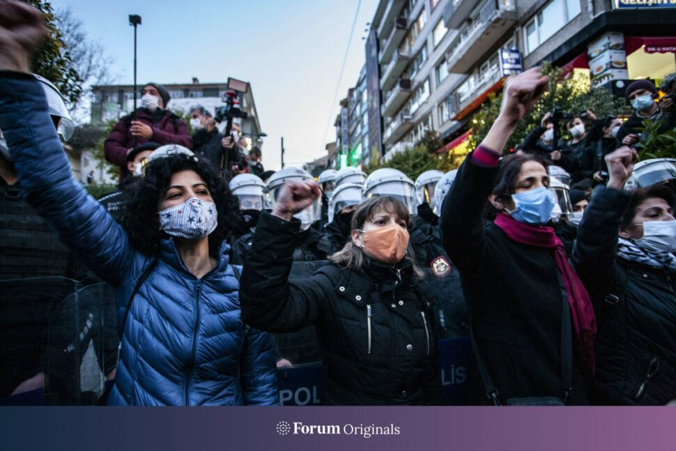 Women gather to protest against the government's decision to pull out of the Istanbul Convention, in Istanbul, Turkey, on March 26, 2021