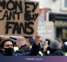 Chelsea fans protest against Chelsea's decision to be included amongst the clubs attempting to form a new European Super League, outside Stamford Bridge stadium in London, April 20, 2021