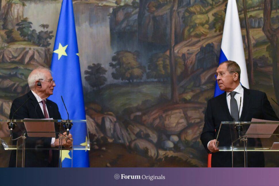 Sergei Lavrov, right, and Josep Borrell attend a joint press conference following their meeting in Moscow.