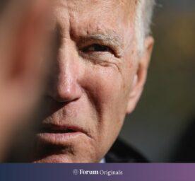 Vice President Joe Biden speaks in Nashua, looking fiercly.