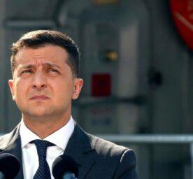 Ukrainian President Volodymyr Zelensky delivers a speech during the Navy Day celebration in Odessa, Ukraine.