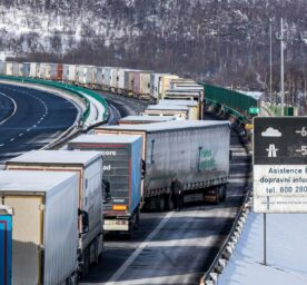 Trucks are queuing at the border between Czech Republic and Germany