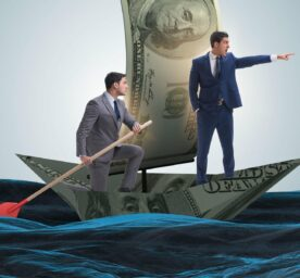 An illustration of business partnership with businessmen sailing on dollar boat