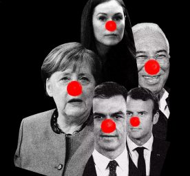 European politicians wearing rednoses