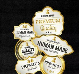 Illustrated seals of approval about quality products made by humans.