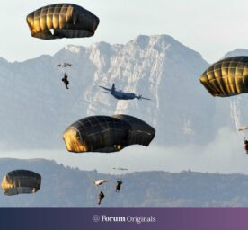 Paratroopers conduct airborne operation at dawn, November 12, 2020 in Pordenone, Italy
