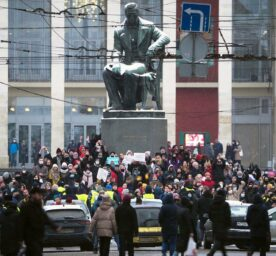 Protestors gathered in a square in St. Petersburg