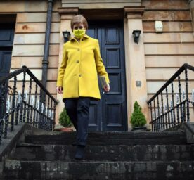 Scottish Parliament elections. Scotland's First Minister Nicola Sturgeon, leader of the Scottish National Party (SNP), campaigns for the Scottish Parliament elections in her Glasgow Southside constituency in Glasgow.